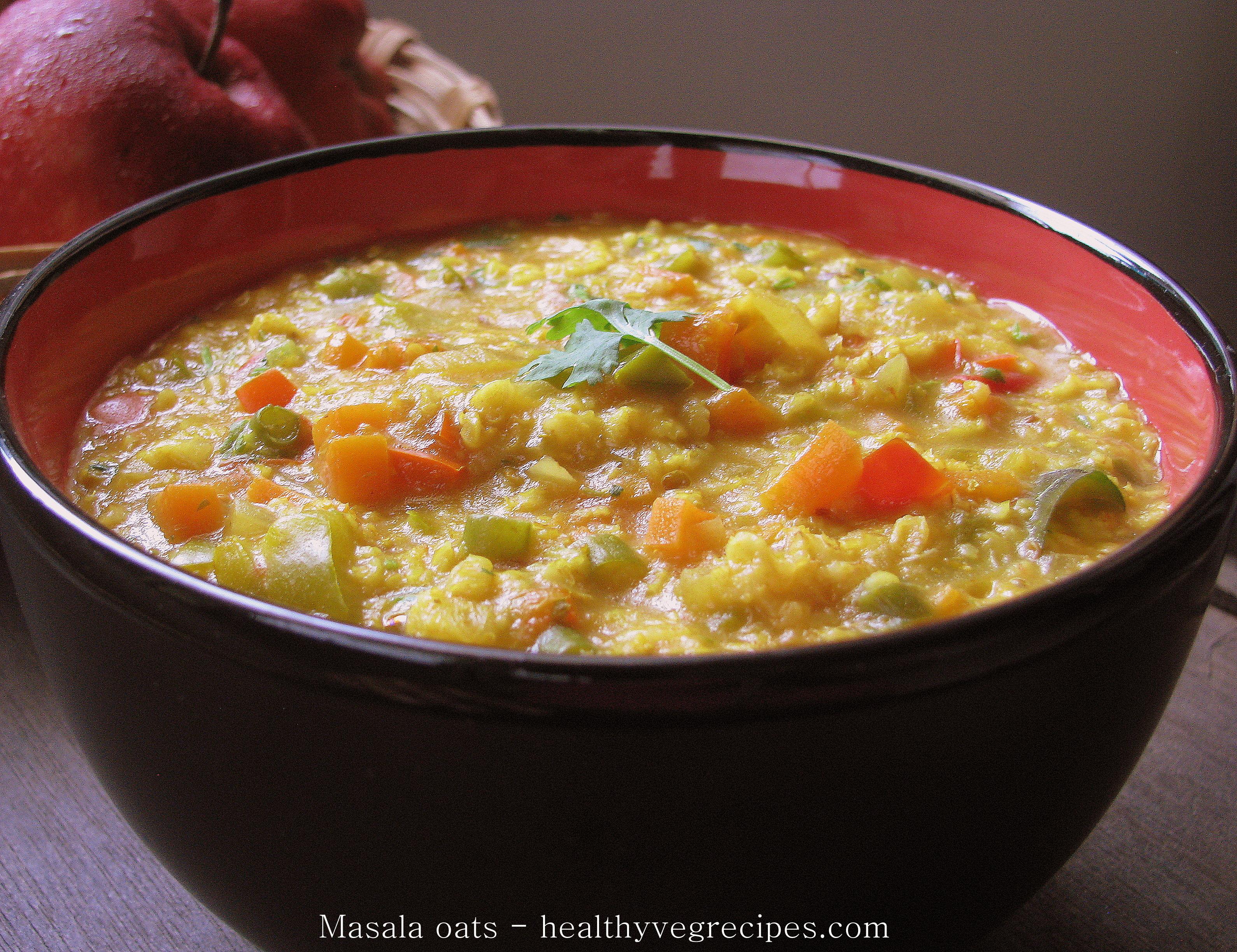 Masala oats | How to make masala oats at home | Healthy ...