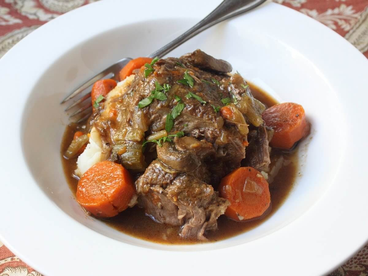 Lamb Meat Cooked Slow Cooker Pot Roast Recipe Dishmaps