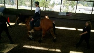 A hippotherapy session of the BITS Warriors program