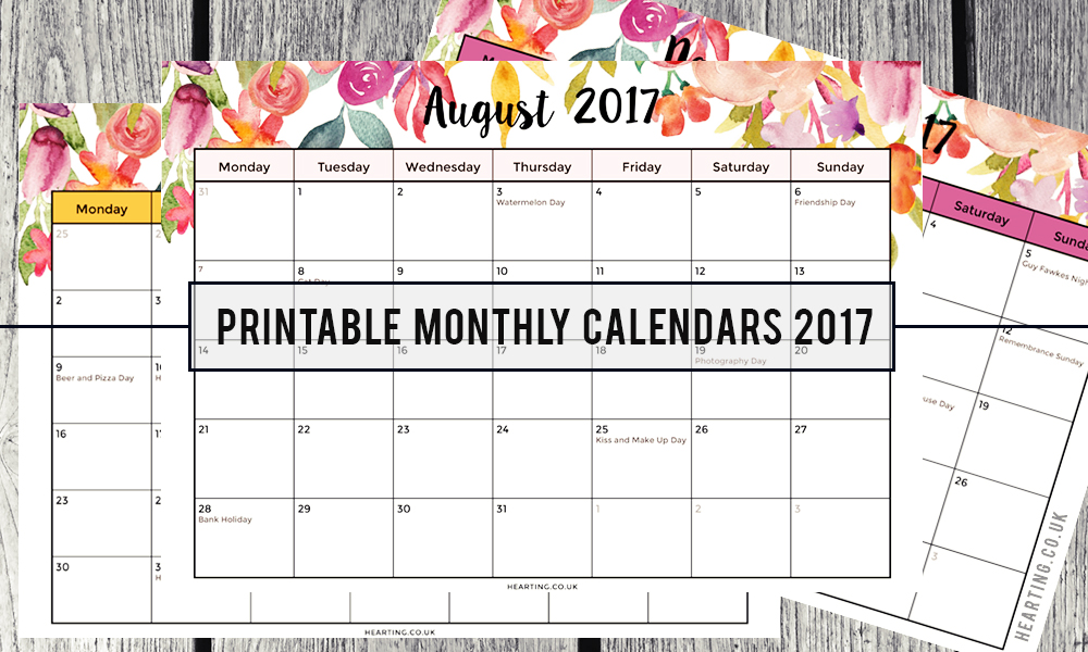 FREE Printable Monthly Calendars 2017 - Hearting