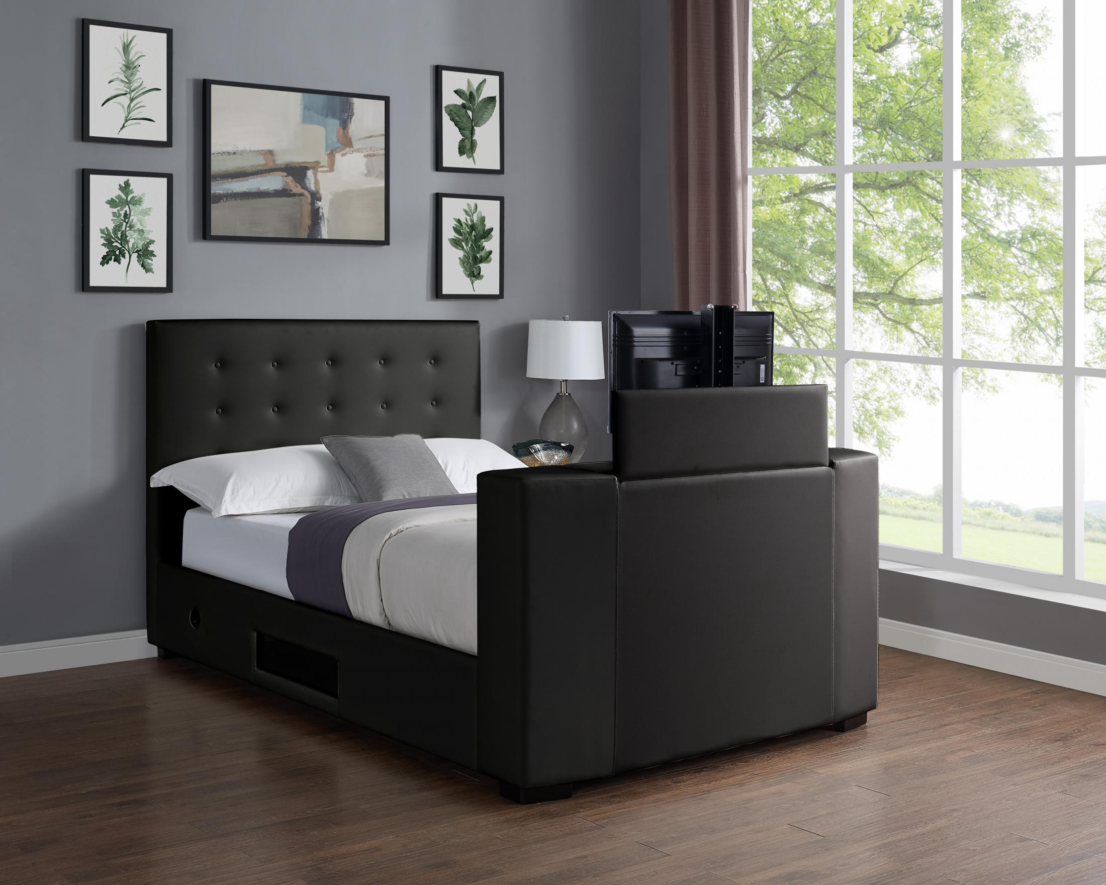 King Size Tv Bed Viewing Marbella Tv Bed Pvc King Size Bed Black