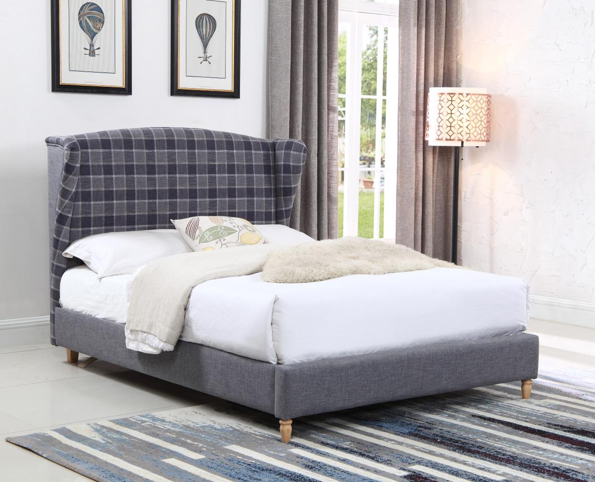 Uk Sofa Wholesale Ltd Viewing Nepal Fabric King Size Bed Grey Chequer Beds King Size