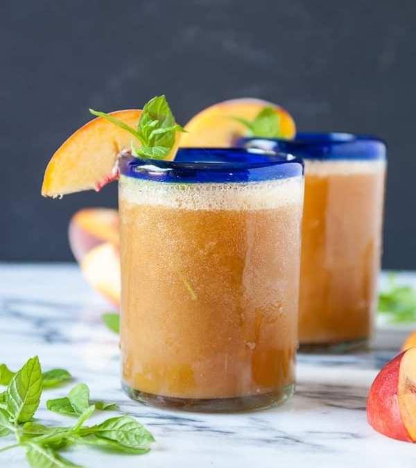 Sweet Peach and Mint Wine Slushies