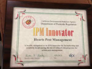 Plaque given to Hearts Pest Management, recipient of prestigious California EPA I.P.M. Innovator Award