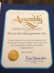 Certificate of Recognition from the California State Assembly to Herts Pest Management.