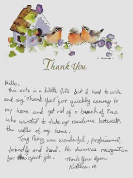 Thank you letter for bees removed from wall