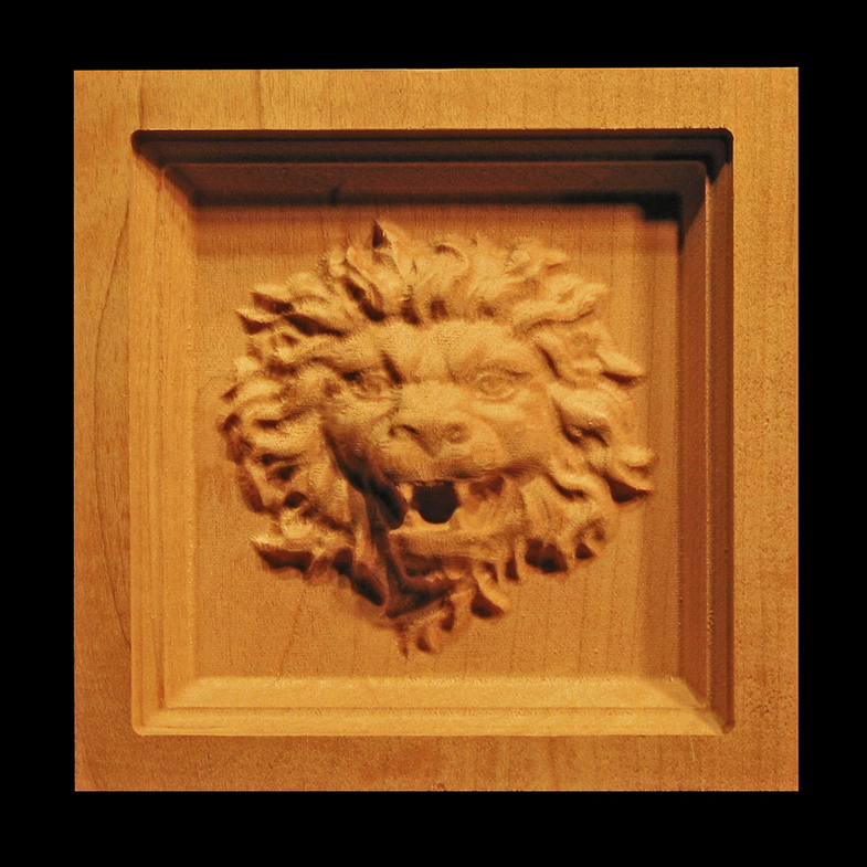 Home Bar Cabinet Block - Roaring Lion Head Carved Wood