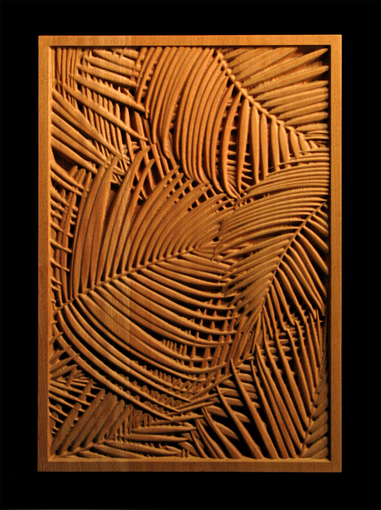 Contemporary Fireplace Palm Frond Carved Wood Panel