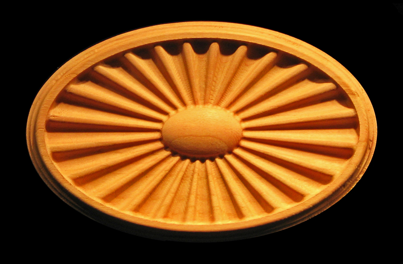 Range Hood Plaque - Federal Sunburst / Fanlight Carved Wood