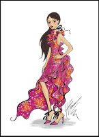 Pink Floral Dress by Heather Fonseca