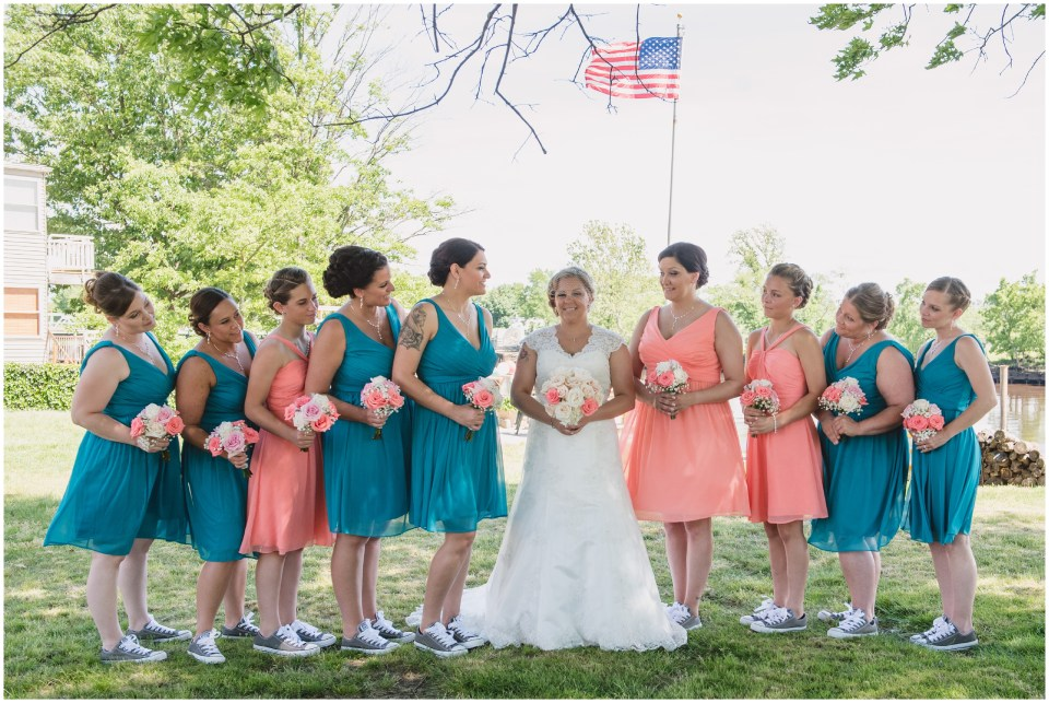 south jersey wedding photographer, pink teal bridesmades, bridal party portraits