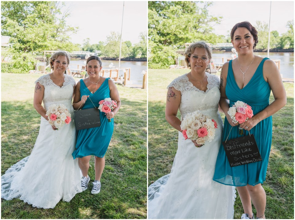 south jersey wedding photographer, pink teal bridesmades, bridal party portraits, chalkboard sign