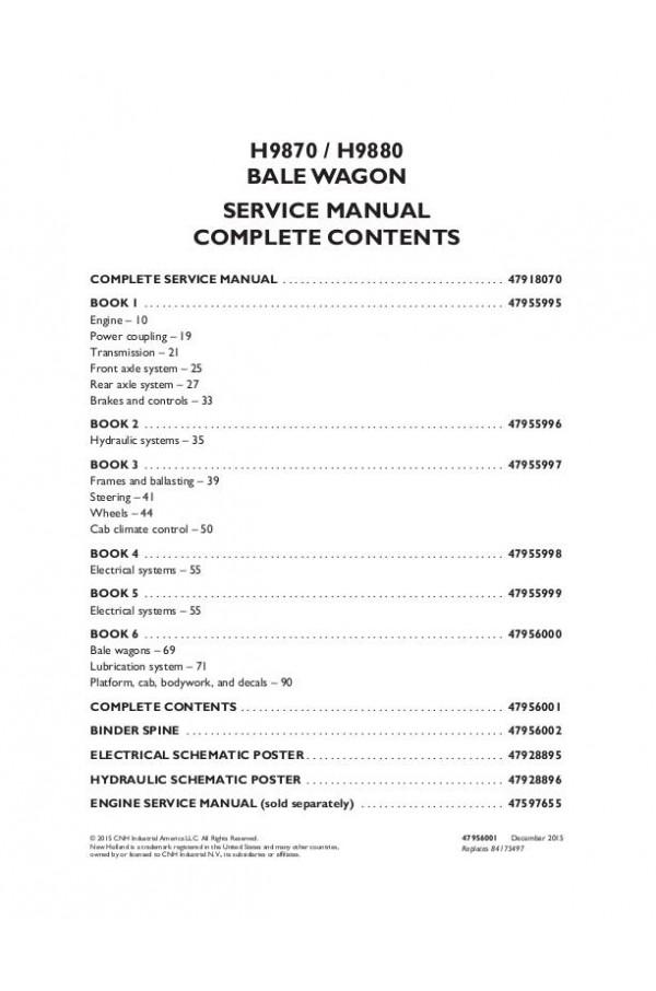 New Holland H9870, H9880 Service Manual