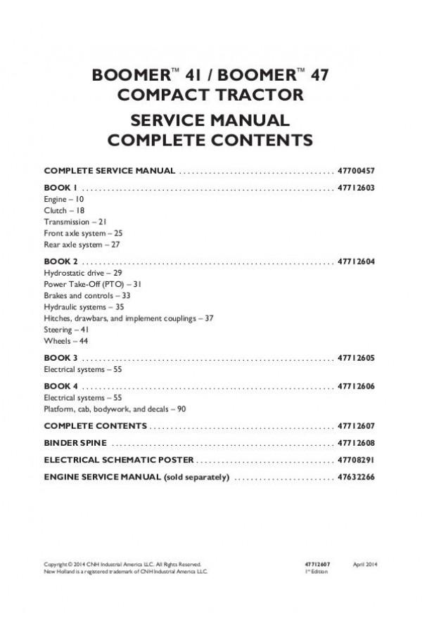 New Holland Boomer 41, Boomer 47 Service Manual
