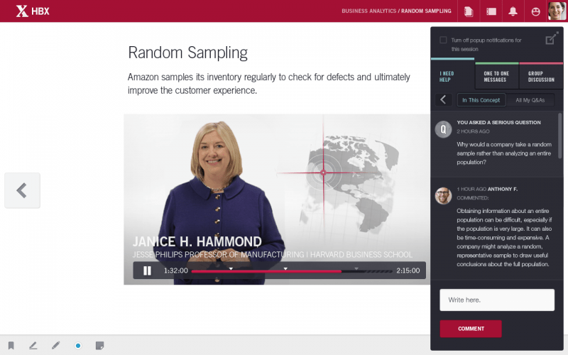 HBX features interactive video lessons and the ability to converse and connect with other students.