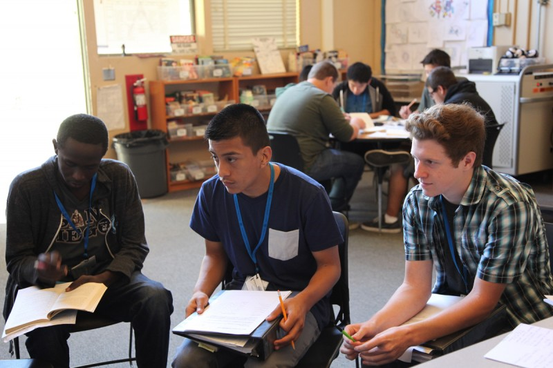 Tenth graders discuss Elie Wiesel's memoir Night in Jessica Frichtel's language arts class. Group work is the norm at Kearny High School's engineering program.