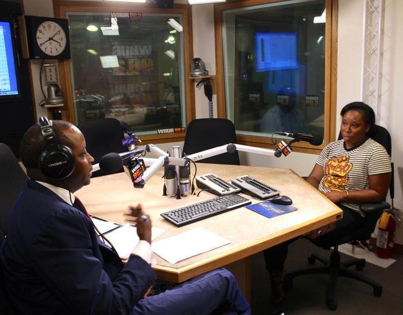 "Howard University president Wayne Frederick interviews soon-to-be-alumna and Katrina survivor Talitha Halley for his talk show ""The Journey."""
