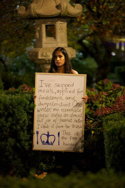 Christine Janumala, a student at Columbia University, says she scrounges free food to avoid going hungry.