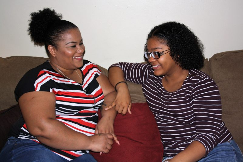 Suhey Mercedes Martinez, left, was shocked by how quickly her daughter, Beyoncé Stringer, progressed with Spanish during her freshman year at the Muñiz Academy.