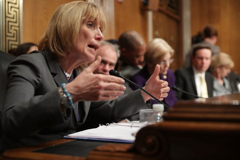 Sen. Maggie Hassan (D-N.H.) questions Secretary of Education Betsy DeVos during her confirmation hearing. Throughout her career, Hassan has supported and sponsored bills aimed at improving outcomes for people with disabilities.