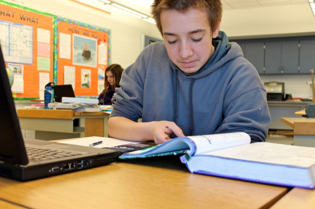 Quakertown middle school student Jonathan Wulffleff loves taking some of his classes online, although he says distractions sometimes slow him down. (Photo: Sarah Garland)