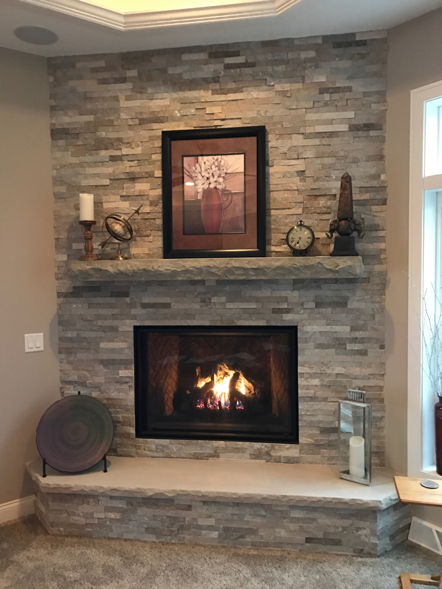 6 Ft Fireplace Mantel Chiseled Stone Non Combustible Mantel Hechler S Mainstreet
