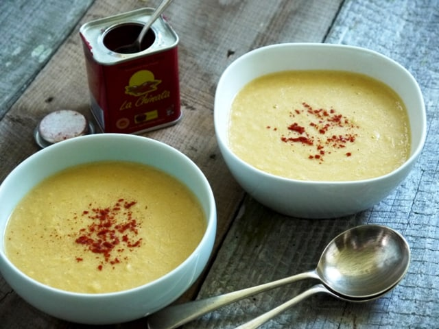 Bowls of simple sweetcorn soup