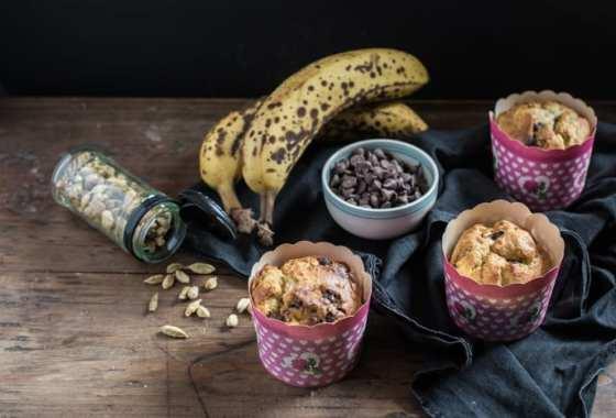 Chocolate Banana Cardamom Muffins