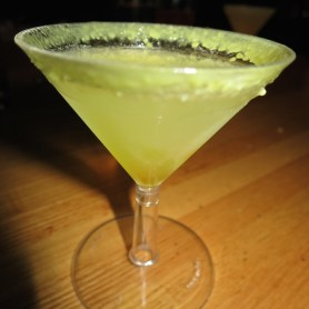 Passion Fruit Lemon Drop (Titos Lemon Vodka, passion fruit boba, simple syrup with a sugar rim)