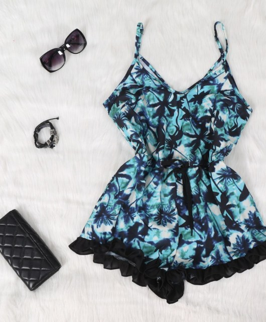 New-2015-Summer-Fashion-Sexy-Ladies-Spaghetti-Strappy-Jumpsuit-Floral-Print-One-Piece-Buffle-Shorts-Outfits