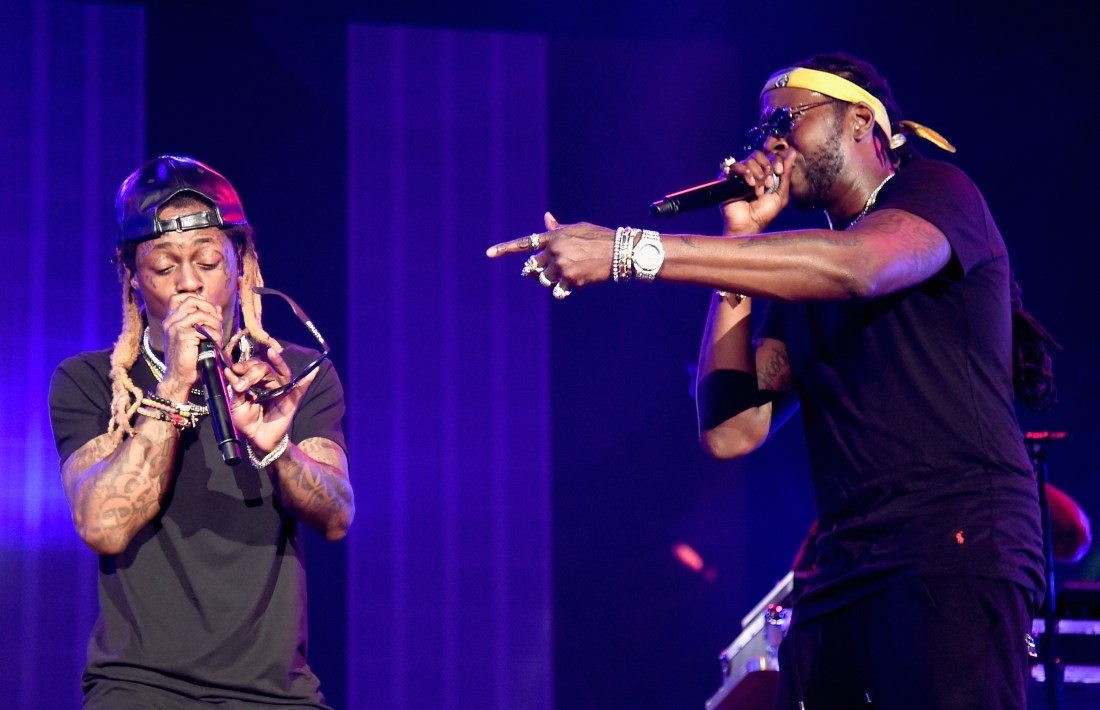 PHILADELPHIA, PA - SEPTEMBER 03:  Lil Wayne and 2 Chainz perform onstage during the 2016 Budweiser Made in America Festival  at Benjamin Franklin Parkway on September 3, 2016 in Philadelphia, Pennsylvania.  (Photo by Kevin Mazur/Getty Images for Anheuser-Busch)