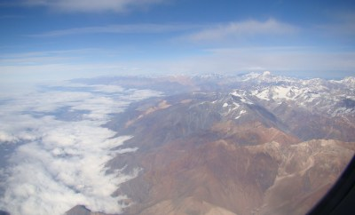 View of the Andes flying Mendoza to Santiago