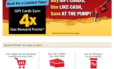 Safeway 4x gas rewards gift card