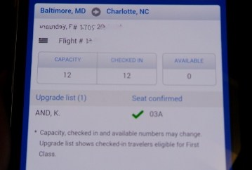 US Airways BWI CLT mileage run upgrade