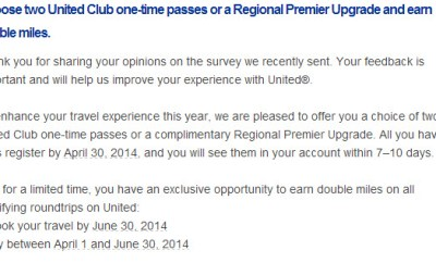 United MileagePlus double mile offer