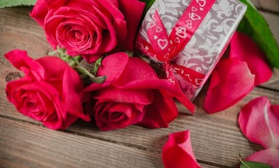 Red roses and gifts
