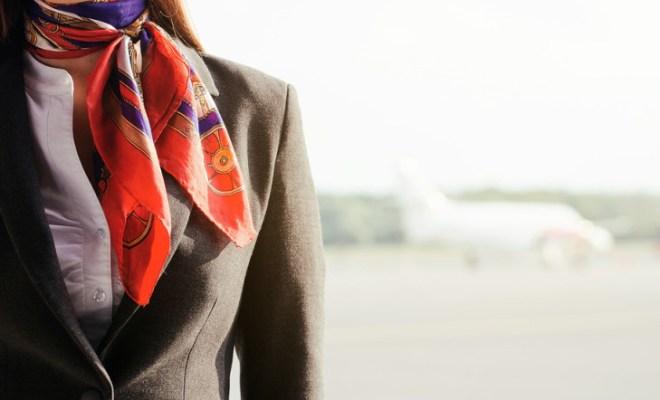 flight attendant with plane