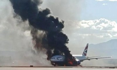 british airways las vegas london flight catches fire credit twitter bradley hampton