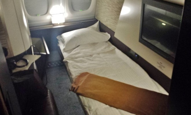 Etihad A380 First Apartment JFK-AUH inaugural bed