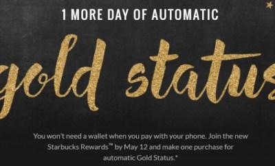 starbucks gold status extended