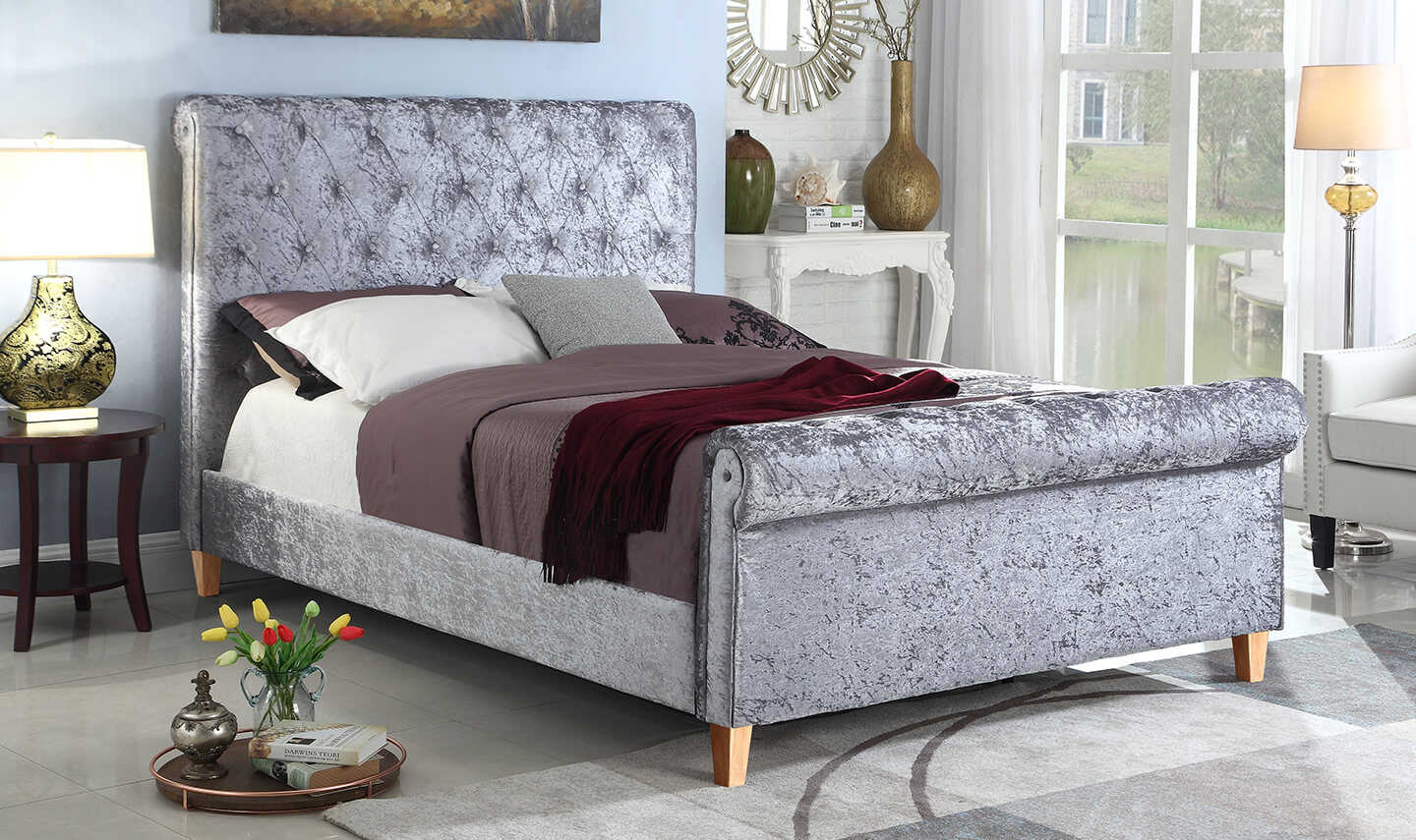 4ft 6 Bed 4ft6 Double Crushed Velvet Sleigh Bed Grey