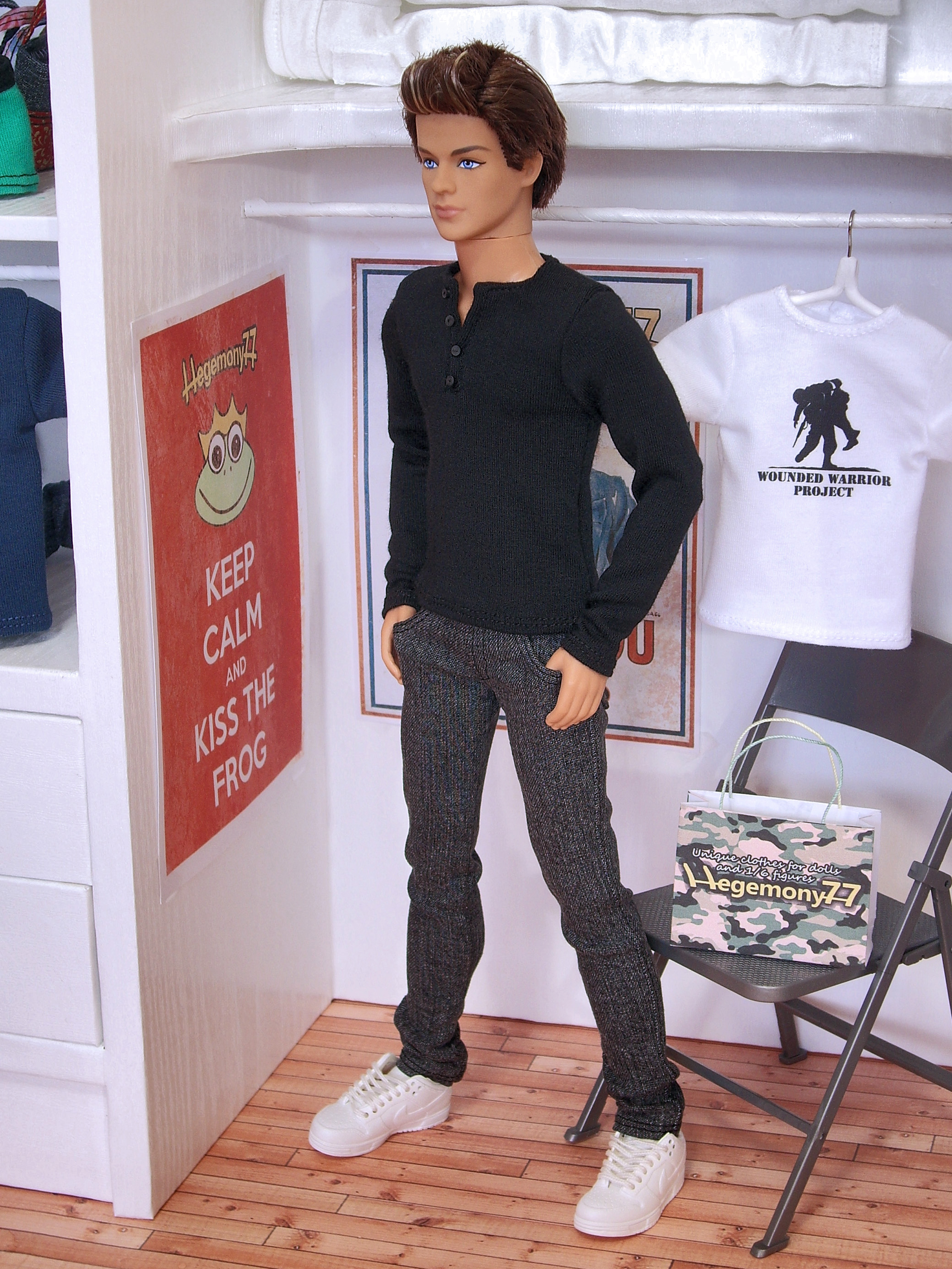 Ken doll in black henley t shirt and grey jeans pants