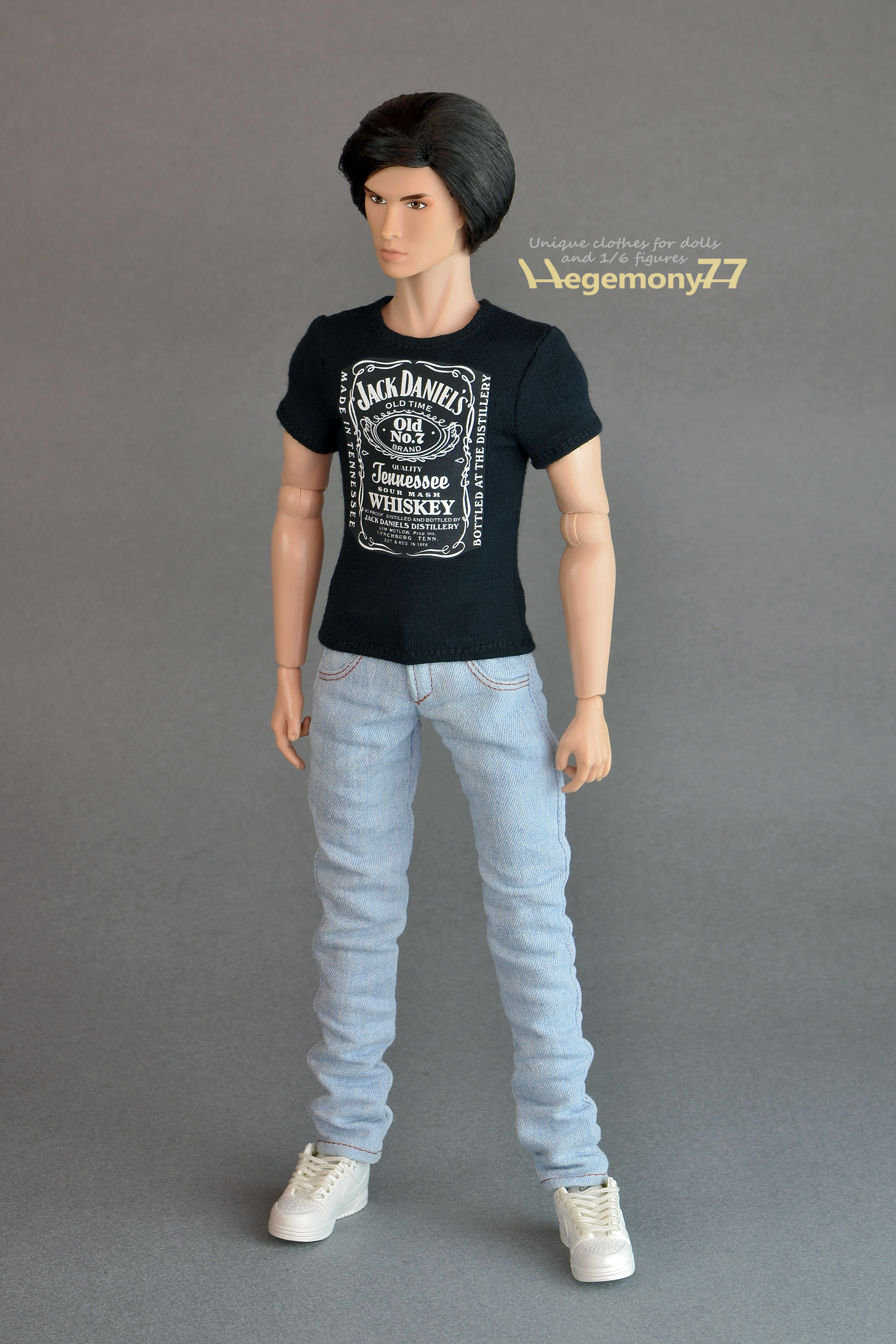 Black t shirt blue jeans - Black T Shirt Light Blue Jeans Fashion Royalty Homme Male Doll In Custom Made Black Download