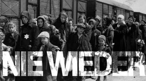 Deportation mit Slogan Nie wieder