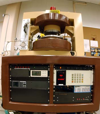 Fig.2 Vacuum gauge controllers are mounted in the magnet table and are connected to the computer.