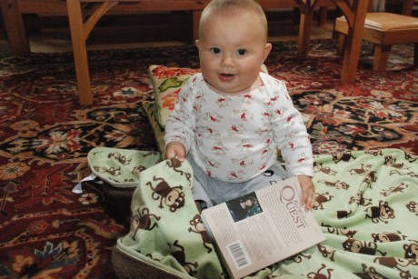My grandson Asher reading Red Willow's Quest