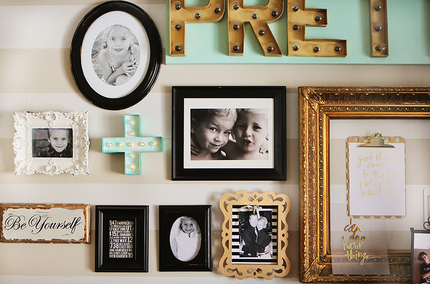 @heidiswapp scrapbook studio gallery wall is like scrapbooking on the wall