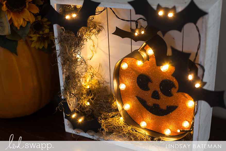 Michaels Halloween String Lights : Halloween Lights DIY I Home Decor Shadow Box Heidi Swapp