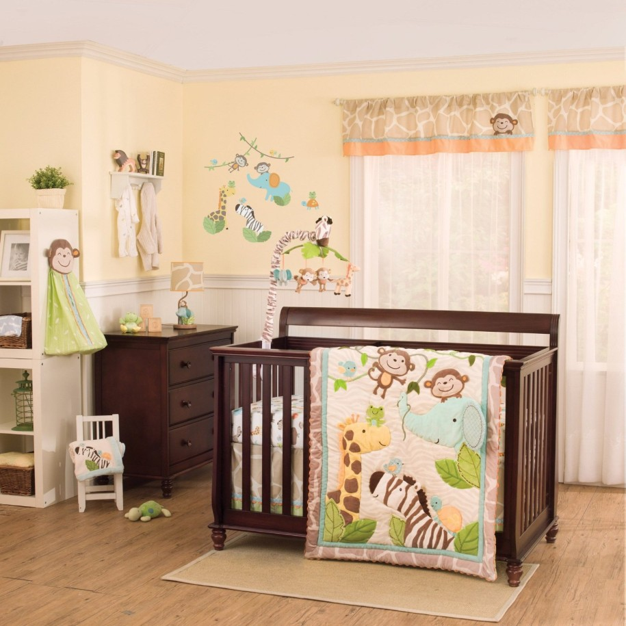Excellent Solid Maple Wood Baby Room Flooring Design Ideas On Beauteous Jungle Baby Nursery Room Decor Come With Colorful Animal Baby Mobile Even Colorful Jungle Baby Bedding Helda Site Furnitures