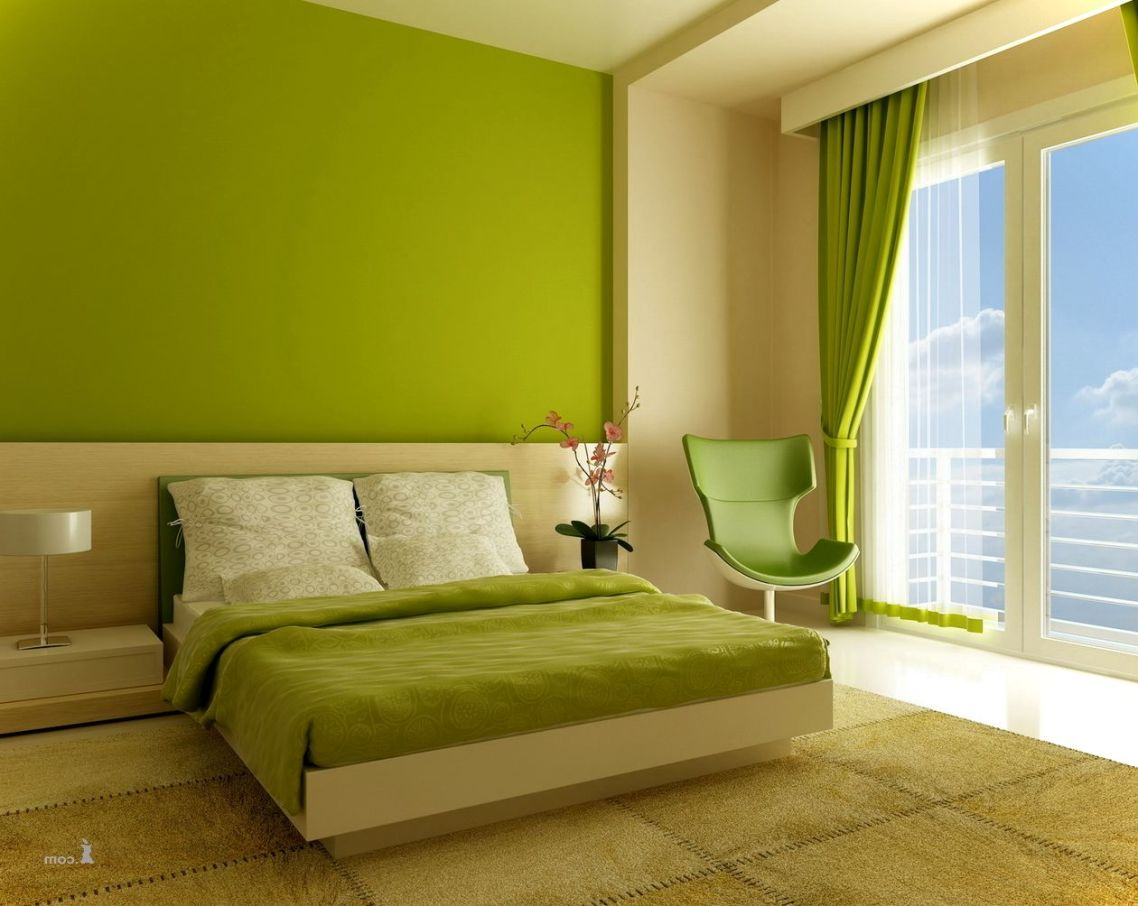 Bedroom Colors Lime Green And Beige Color Wall Bedroom Asian Paints Presenting Wood Glass Furniture Also White Bed Green Cover Double Cushion Armchairs Table Lamp Door Glass Helda Site Furnitures